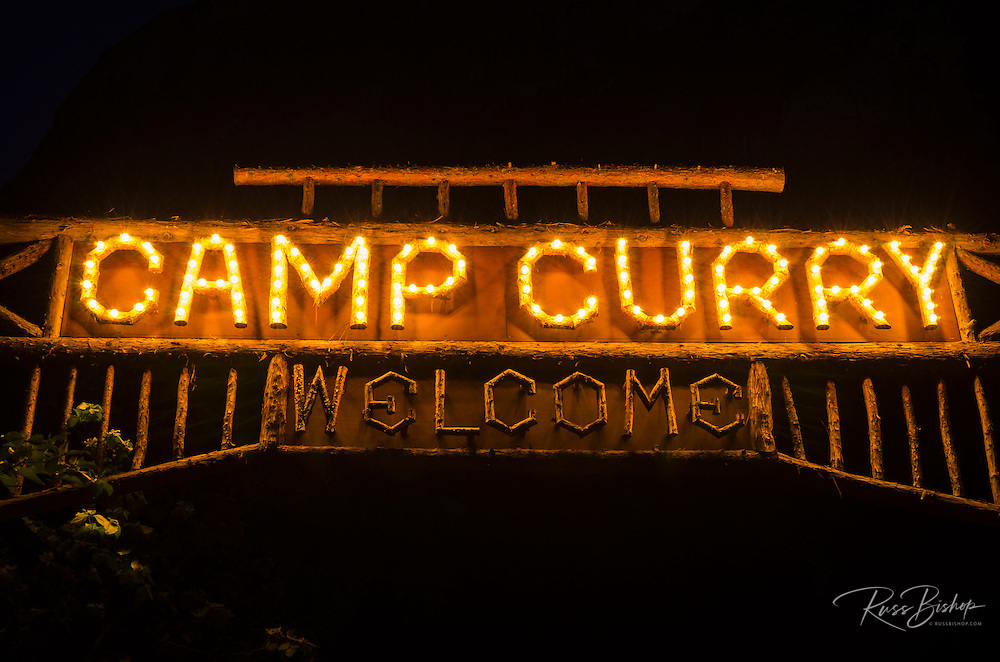 Camp Curry sign at night, Yosemite National Park, California USA