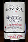Bottle of French Bordeaux wine, Chateau Fontcaille Bellevue 2003 Grand Vin de Bordeaux and Bordeaux Superieur,  France