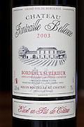Bottle of French Bordeaux wine, Chateau Fontcaille Bellevue 2003 Grand Vin de Bordeaux and Bordeaux Superieur,  France