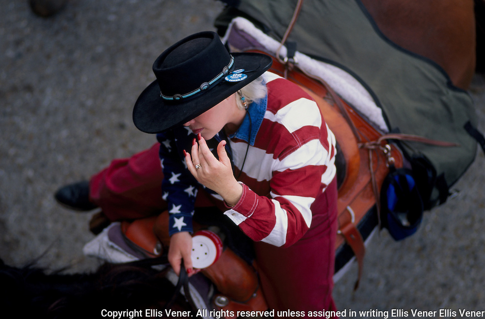 Cowgirl in American Flag shirt, Houston Livestock Show and Rodeo Parade