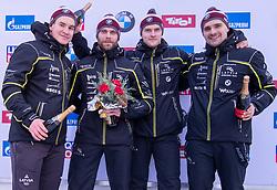 20.01.2019, Olympia Eiskanal, Innsbruck, AUT, BMW IBSF Weltcup Bob, Igls, Herren Viersitzer, Siegerehrung, im Bild Pilot Oskars Kibermanis mit Matiss Miknis, Arvis Vilkaste, Janis Strenga (LAT, 2. Platz) // second placed Bobsleigh with Pilot Oskars Kibermanis and Matiss Miknis Arvis Vilkaste Janis Strenga of Latvia during the winner Ceremony for the men's four-man Bobsleigh of the BMW IBSF Bob World Cup at the Olympia Eiskanal in Innsbruck, Austria on 2019/01/20. EXPA Pictures © 2019, PhotoCredit: EXPA/ Johann Groder