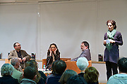 "Vienna, Hauptbuecherei. Presentation of the book ""Aufmarsch: Die rechte Gefahr aus Osteuropa"" by  Gregor Mayer (r.) and Bernhard Odehnal (l.). Discussion leader Elisa Vass (m). Jessica Beer (r.)"