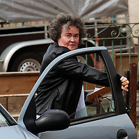 Britain's Got Talent contestant Susan Boyle from Blackburn, West Lothian media interest continues...Pic shows Susan Boyle leaving a car after trying to avoid the press outside her home in Yule Terrace in Blackburn, West Lothian...Picture Richard Scott/Maverick