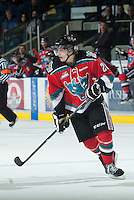KELOWNA, CANADA - NOVEMBER 24:  Austin Glover #20 of the Kelowna Rockets skates on the ice against the  Saskatoon Blades at the Kelowna Rockets on November 24, 2012 at Prospera Place in Kelowna, British Columbia, Canada (Photo by Marissa Baecker/Shoot the Breeze) *** Local Caption ***