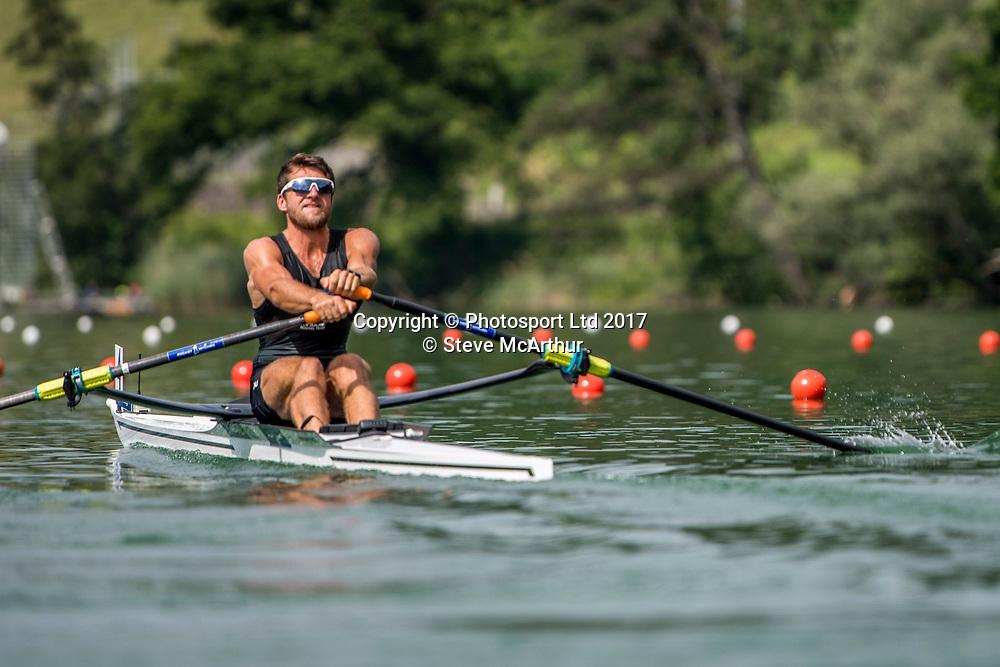 Matthew Dunham (Cambridge RC) NZ Mens Lightweight Single Scull racing the qualification heat at WCIII on the Rotsee, Lucerne, Switzerland, Friday 7th July 2017 © Copyright Steve McArthur / www.photosport.nz
