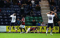 Preston players react after Will Keane misses a chance - Mandatory byline: Matt McNulty/JMP - 07966386802 - 22/09/2015 - FOOTBALL - Deepdale Stadium -Preston,England - Preston North End v Bournemouth - Capital One Cup - Third Round