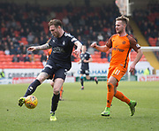 14th April 2018, Tannadice Park, Dundee, Scotland; Scottish Championship football, Dundee United versus Falkirk; Jordan McGhee of Falkirk and Billy King of Dundee United