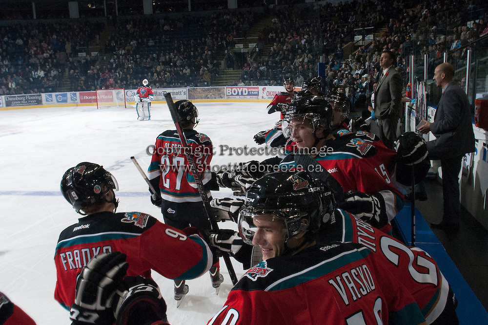 KELOWNA, CANADA - NOVEMBER 9:  Ryan Olsen #27 of the Kelowna Rockets celebrates a goal against the Red Deer Rebels at the Kelowna Rockets on November 9, 2012 at Prospera Place in Kelowna, British Columbia, Canada (Photo by Marissa Baecker/Shoot the Breeze) *** Local Caption ***