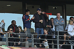 03.07.2010, CAPE TOWN, SOUTH AFRICA, im Bild . American Actor Leonardo DiCapro blows a vuvuzela as Rolling Stone Singer Mick Jagger looks on during the Quarter Final, Match 59 of the 2010 FIFA World Cup, Argentina vs Germany held at the Cape Town Stadium. Foto ©  nph /  Kokenge