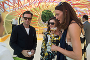 Ewan McGregor; Eve Mavrakis; ?, Serpentine's Summer party co-hosted with Christopher Kane. 15th Serpentine Pavilion designed by Spanish architects Selgascano. Kensington Gardens. London. 2 July 2015.