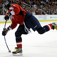 05 February 2009:  Washington Capitals left wing Alex Ovechkin (8) fires a shot on goal in the 2nd period against the Los Angeles Kings at the Verizon Center in Washington, D.C.  The Kings defeated the Capitals 5-4 as Alex Ovechkin recorded his 200th NHL goal in the game.