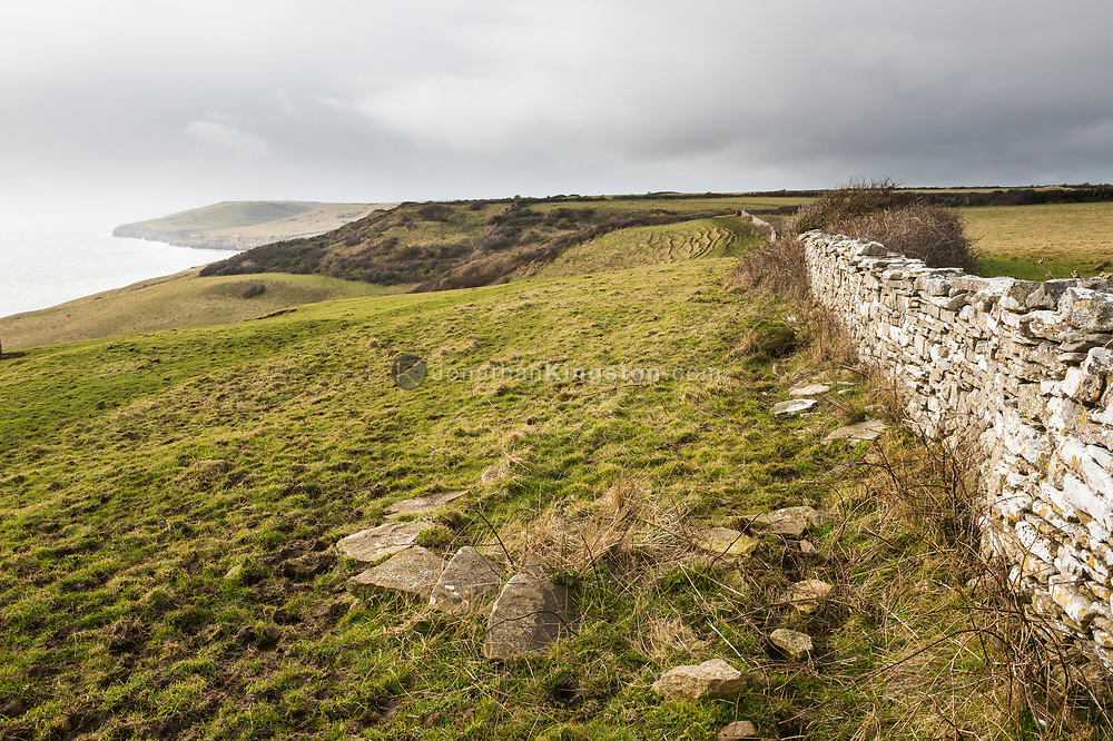 Stone wall on top of a grassy hillside overlooking the Atlantic Ocean on the south coast of England near the town of Swanage.