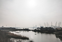 The view towards the O2 in North Greenwich, taken from the DLR moving towards Limehouse and the City of London