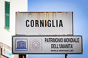 Town sign with UNESCO World Heritage designation , Corniglia, Cinque Terre, Liguria, Italy