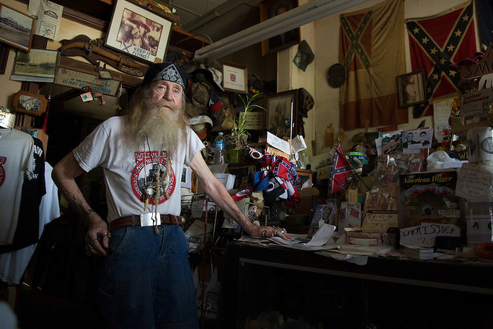 "Dent ""Wildman"" Myers,  is photographed in his shop, Wildman's Civil War Surplus,  on Tuesday, June 23, 2015 in downtown Kennesaw, Ga. Photo by Kevin Liles for The New York Times"