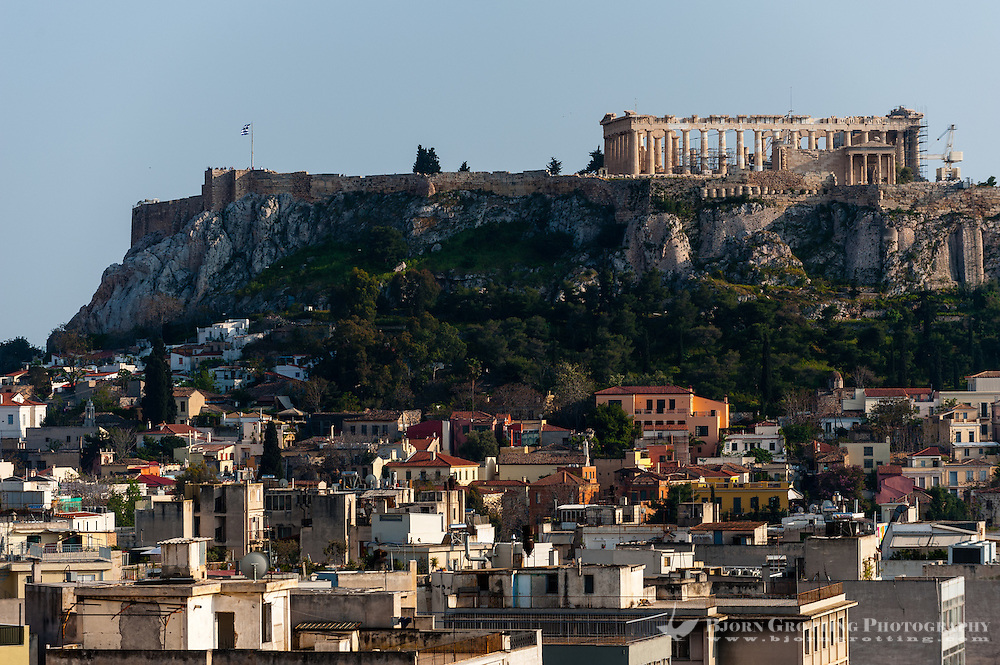 Athens, Greece. The Acropolis of Athens. from Fresh Hotel.