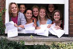 Chelmsford County High School for Girls, with their A-Level results. .- Front L to R Jo Living 18, 2A/2B, Katie Fraser 18, 3 A's, Julie Martindall 18, 4A's, Lucy Mushens 17, 4 A's. Back L to R Laura Furnival 18, A,B,C,C, Charlotte Armour 18, 2A/2B, Hannah Ibrahim 18, 4 B's, August 17, 2000. Photo by Andrew Parsons/i-Images..