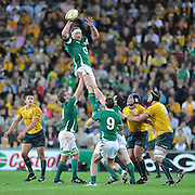 Mick O'Driscoll wins clean line out ball for Ireland during action from the Rugby Union Test Match played between Australia and Ireland at Suncorp Stadium (Brisbane) on Saturday 26th June 2010 ~ Australia (22) defeated Ireland (15) ~ © Image Aura Images.com.au ~ Conditions of Use: This image is intended for Editorial use as news and commentry in print, electronic and online media ~ Required Image Credit : Steven Hight (AURA Images)For any alternative use please contact AURA Images