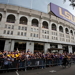 November 13, 2010; Baton Rouge, LA, USA; Fans wait for the band prior to kickoff of a game between the LSU Tigers and the Louisiana Monroe Warhawks at Tiger Stadium.  Mandatory Credit: Derick E. Hingle