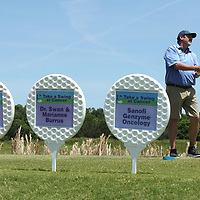 "Todd Bates, of Tupelo, tees off in the second flight of the the ""Take a Swing At Cancer"" golf tournamant held at Old Waverly Monday in West Point."