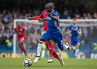 Football - 2016/2017 Premier League - Chelsea V Leicester.<br /> <br /> Ngolo Kante of Chelsea breaks out with the ball at Stamford Bridge.<br /> <br /> COLORSPORT/DANIEL BEARHAM