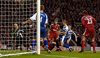 Photo: Jed Wee.<br />Liverpool v Reading. The Barclays Premiership. 04/11/2006.<br /><br />Liverpool's Dirk Kuyt (partially obscured) bundles home his second goal.