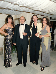 Left to right, MISS GABBY DELLAL, MR & MRS JACK DELLAL the multi millionaire and MISS JASMIN DELLAL, at a reception in London on 12th June 1997. LZH 91