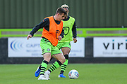 Forest Green Rovers Kevin Dawson(18) warming up  during the EFL Trophy match between Forest Green Rovers and U21 Southampton at the New Lawn, Forest Green, United Kingdom on 3 September 2019.