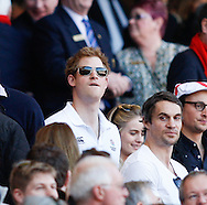 Prince Harry looks on during the RBS 6 Nations match at Twickenham Stadium, Twickenham<br /> Picture by Andrew Tobin/Focus Images Ltd +44 7710 761829<br /> 09/03/2014