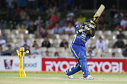 © Licensed to London News Pictures. 08/03/2012. Adelaide Oval, Australia. Rangana Herath gets bowled for a duck during the One Day International cricket match final between Australia Vs Sri Lanka. Photo credit : Asanka Brendon Ratnayake/LNP