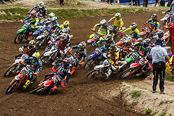 Antonio Cairoli #222 of Italy, Tim Gajser #243 of Slovenia and Maximillian Nagl #12 of Germany during MXGP Trentino race two, round 5 for MXGP Championship in Pietramurata, Italy on 16th of April, 2017 in Italy. Photo by Grega Valancic / Sportida