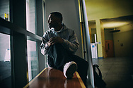 Tim Jackson, an ex convict, waits in the lobby for class to begin, on Thursday, April 12, 2018 at Cal State San Marcos in San Marcos, California.(Photo by Sandy Huffaker for Yahoo News)