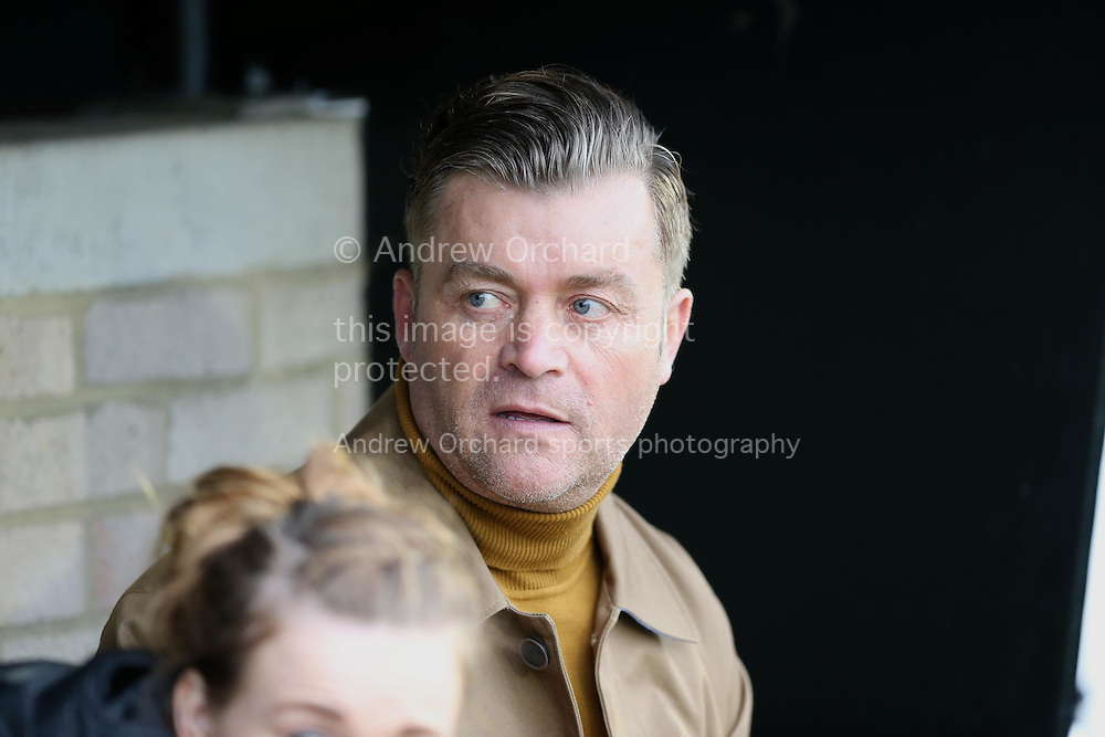 Steve King, the Whitehawk manager looks on from the dugout. The Emirates FA Cup, 2nd round match, Dagenham &amp; Redbridge v Whitehawk FC at the The London Borough of Barking &amp; Dagenham Stadium in London on Sunday 6th December 2015.<br /> pic by John Patrick Fletcher, Andrew Orchard sports photography.