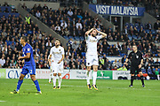 Stuart Dallas of Leeds United reacts to a chance during the EFL Sky Bet Championship match between Cardiff City and Leeds United at the Cardiff City Stadium, Cardiff, Wales on 26 September 2017. Photo by Andrew Lewis.