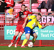 Accrington Stanley striker Billy Kee shields the ball from Crawley Town striker Rhys Murphy, on loan from Oldham Athletic, during the Sky Bet League 2 match between Crawley Town and Accrington Stanley at the Checkatrade.com Stadium, Crawley, England on 26 September 2015. Photo by Bennett Dean.