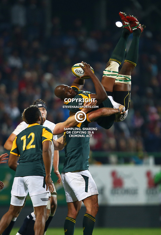 """George, SOUTH AFRICA, 17,June, 2016 - Oupa Mohoje (captain) of South Africa A taking the re start during the South Africa """"A"""" v England Saxons - 2nd match,Outeniqua Park in George,Southern Cape  South Africa (Photo by Steve Haag) - Images for Getty Images  - England Saxons."""