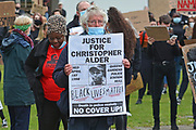 Christopher Alder death in police custody is remembered Janet Alder in red top during the Black Lives Matter protest at Queens Gardens, Hull, United Kingdom on 10 June 2020.
