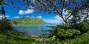 Panoramic view of Kahana Bay and the windward coast of Oahu, Hawaii