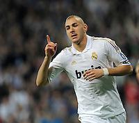 FUSSBALL   CHAMPIONS LEAGUE   SAISON 2011/2012  Achtelfinale Rueckspiel 14.03.2012 Real Madrid  - ZSKA Moskau  JUBEL Real Madrid; Torschuetze zum 3-0 Karim Benzema