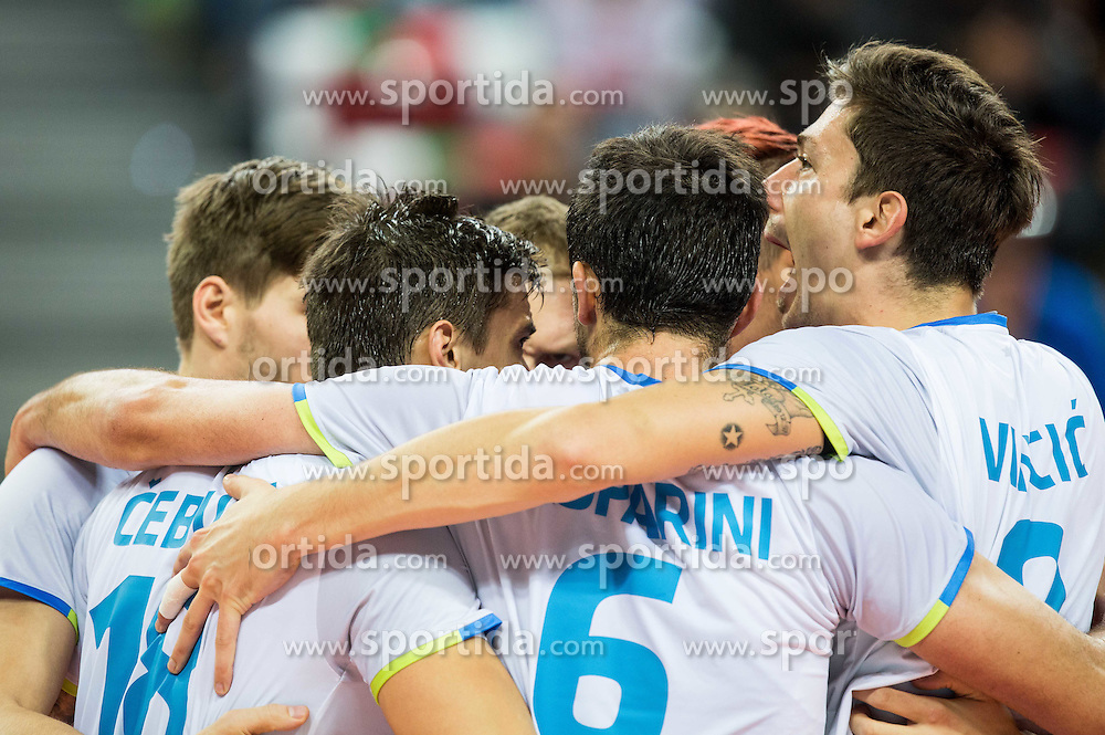 Players of Slovenia celebrate during volleyball match between National teams of Slovenia and Italy in 1st Semifinal of 2015 CEV Volleyball European Championship - Men, on October 17, 2015 in Arena Armeec, Sofia, Bulgaria. Photo by Vid Ponikvar / Sportida