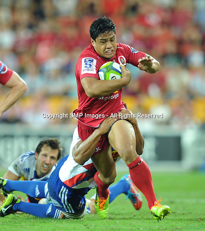 BEN TAPUAI - REDS V STORMERS - 2014 SUPER RUGBY ROUND 7 - 29March2014, action from round 7  of the Super Rugby competition, between the Queensland Reds and The Western Stormers, being played at Suncorp Stadium, Brisbane, Australia.  This image is for Editorial Use Only. Any further use or individual sale of the image must be cleared by application to the Manager Sports Media Publishing (SMP Images). PHOTO : Scott Davis SMP IMAGES