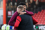 Tyrone Mings (40) of Aston Villa hugs Aaron Ramsdale (12) of AFC Bournemouth ahead of the Premier League match between Bournemouth and Aston Villa at the Vitality Stadium, Bournemouth, England on 1 February 2020.