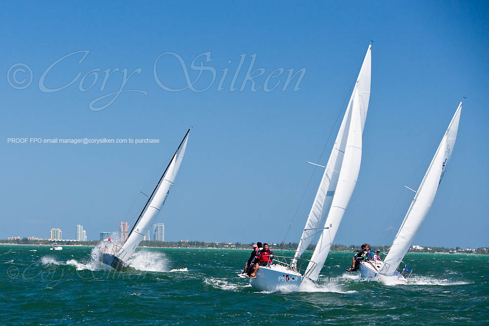 J 24 Class racing during the Bacardi Miami Sailing Week regatta, day 6.