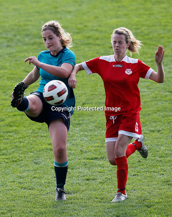 Kings Tessa Berger gets to the ball ahead of Rovers Olivia Chance. Women's Knockout Cup Final, Three Kings United v Claudelands Rovers, North Harbour Stadium, Albany, Sunday 19th September 2010. Photo: Shane Wenzlick/PHOTOSPORT