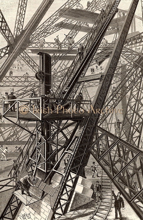 Construction of the Eiffel Tower, Paris, France.  General view of one of the cranes used for lifting components to the working level.   From 'La Nature' (Paris, 1887).