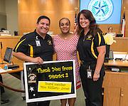 Houston ISD trustee Rhonda Skillern-Jones, center, is recognized by Issacs ES principal Rosemarie Cummings, right, and assistant principal Cesar Alvarez, left, September 12, 2013.