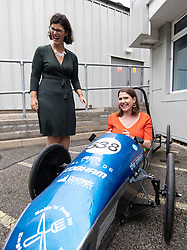 © Licensed to London News Pictures . 16/09/2019. Bournemouth, UK. Party leader JO SWINSON (r) and Shadow Education Secretary LAYLA MORAN try out a prototype electric car , designed and built by students, during a visit to Bournemouth College STEM Centre, which trains apprentices for industry, during the Liberal Democrat Party Conference at the Bournemouth International Centre . Photo credit: Joel Goodman/LNP