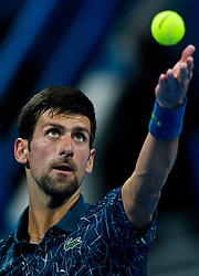 Novak Djokovic of Serbia serves to  Damir Dzumhur of Bosnia during their first round of ATP Qatar Open Tennis match at the Khalifa International Tennis Complex in Doha, capital of Qatar, on January 01, 2019. Djokovic  won 2-0  (Credit Image: © Nikku/Xinhua via ZUMA Wire)