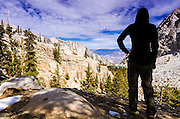 Hiker on the Mount Whitney Trail, John Muir Wilderness, California USA