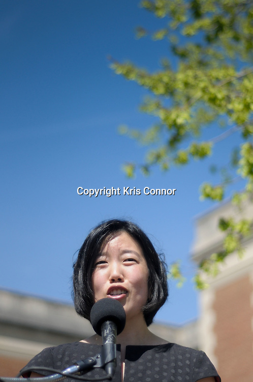 Michelle Rhee, Chancellor of DC Public Schools, speaks during a press conference on the tentative agreement on the new contract between the Washington Teachers Union and District of Columbia Public Schools on the steps of Eliot Junior High School in Northeast Washington DC on April 7th, 2010